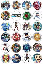 24 Beyblade Wafer Rice Paper Cupcake Toppers EDIBLE CAKE Bey Blade MIXED DESIGNS