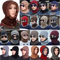 Winter Mens Beanie Scarf Neck Warm Wool Fleece Ski Cap Hat Scarf Neckerchief Set