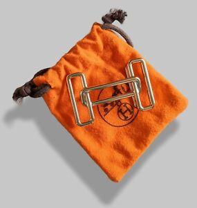 Hermes [64] Permabrass H RYTHME Buckle H 32 MM, New in Orange Pochette!