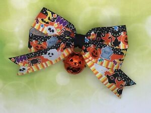 Halloween Hair Bow, Jack O Lantern Jingle Bell Charm, Boo, Ghost, Witch, Spider