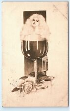*1909 Woman Female Girl in Wine Glass Rose Drawing Art Vintage Postcard C18