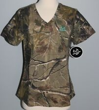 New Ladies REALTREE Camo Short Sleeve V-Neck T-Shirt Womens S M L XL 2XL Shirt