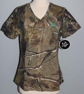 New Ladies REALTREE Camo Short Sleeve V-Neck T-Shirt Womens S M L XL 2XL Shirt