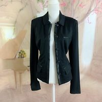 Cabi Women's #3376 Tudor Jacket Blazer Faux Leather Trim Size Medium