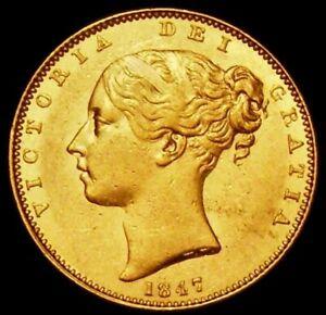 1847 EF/AU Queen Victoria Gold Sovereign Spink 3852 Marsh 30