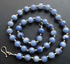 NWT GOLD vermeil blue AVENTURINE stone 8mm bead necklace -K40