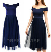 Coast NEW Navy Bardot Tulle Midi Party Prom Bridesmaid Wedding Guest Dress 6-18