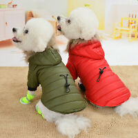 Dog Hoodie Warm Jacket Padded Winter Coat Clothing Pet Puppy Costume Jumper XS~S
