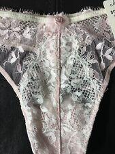 JEZEBEL 51269 Vintage NWT Mesh Lace Thong XL Pink White Nylon Spandex