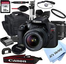 Canon EOS Rebel T7 DSLR Camera Kit 18-55mm f/3.5-5.6 Zoom Lens 32 GB Card 18pc