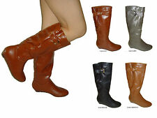 NEW women shoe low Wedge Comfort Round Toe Fashion Mid Calf Knee High Boots LALO
