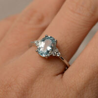 14K Solid White Gold Natural Diamond 2.15 Ct Aquamarine Engagement Ring Size O