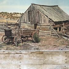 "RAY EYERLY Signed Print ""HAS BEENS"" Eastern Oregon Wagon Barn"