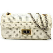 Auth Chanel White Punching Leather Chain Shoulder Bag Comes With Dustbag/DH40689