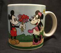 1985 Walt Disney Mickey & Minnie Mouse Applause Vintage Coffee Mug Flowers #5778