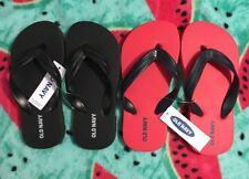 2 pr OLD NAVY KIDS FLIP FLOPS size 10/11 BLACK & RED w/ black straps