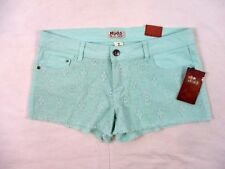 Mudd Juniors Short Shorts Lace Front Size 13 Green Flat Front Summer CB9Z NWT
