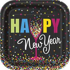 8X Negro Confeti Año Nuevo Platos de Papel para Fiesta Año 23Cm Año