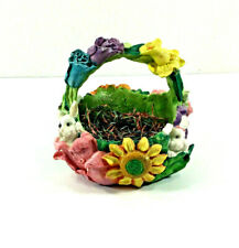 Easter Collection Concrete Bunny Basket Pastel Flowers Three Hands Corporation