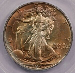 1947-P 1947 Walking Liberty Half Dollar ICG MS64 Beautifully toned NICE!