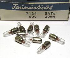 10x Taunuslicht Bajonett-Birnchen / Telefon-Lampe, BA7S, 60V / 20 mA, NOS