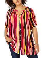 Roamans blouse shirt top tunic plus size 28 30 32 34 36 38 multi stripe crinkle