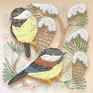 Yellow Belly Tit Bird 10 Machine Embroidery Designs on CD