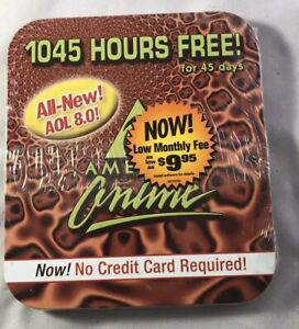 Collector's CD AOL 8.0 America Online 45 Days 1045 hrs Free Sealed in Tin Case