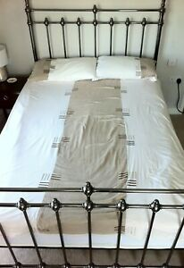 Lovely DOUBLE DUVET COVER SET with PILLOWCASES Suedette Beige & off-white