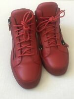 GIUSEPPE ZANOTTI May London Red Leather Gold Sneakers - excellent SZ 44 , US 11