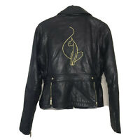 Baby Phat Women's Genuine Leather Jacket With Removal Faux Fur Lining Size Small