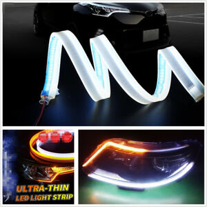 2 Pcs 60cm Ultrathin Amber+White Flowing LED Car Fog Lamp Turn Signal Indicator