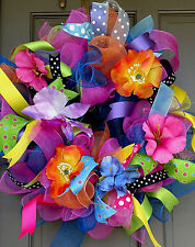 Handmade Summer Spring Everyday Deco Mesh All Occasion Tropical Flower Wreath