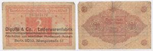 2 Mark Darlehenskschein Reichsschuldenverwalt   seltener Aufdruck !!!  (44037)