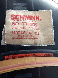 Schwinn Le Tour 700x32c Bicycle Tires 1 Pair, Gumwall, Vintage Old Stock.