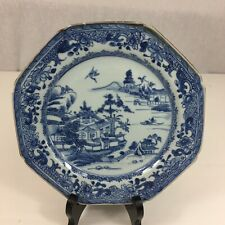 More details for antique chinese blue & white willow pattern plate staple repair 23cm diameter