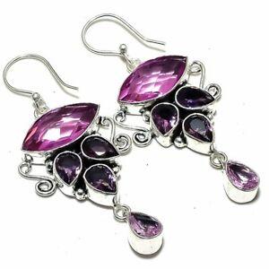 """Amethyst, Kunzite Gemstone Handmade Silver Jewelry Earring 2.5"""" ERJ2293"""