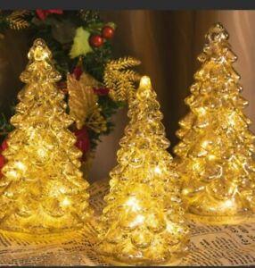 ITART Light up Mercury Glass Christmas Tree Figurine Decoration Table Xmas Decor