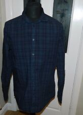Men's Navy Blue Checked Calvin Klein Shirt Long Sleeved UK Size Large