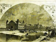 IRON PIER CONEY ISLAND BROOKLYN 1879 Engraving Matted