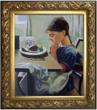 Framed Quality Hand Painted Oil Painting Girl Praying Before Dinner 20x24in