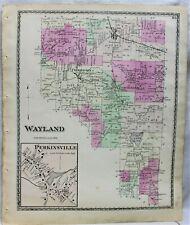 D.G. BEERS & COMPANY ATLAS STREET MAP TOWN OF WAYLAND  NEW YORK 1873 STEUBEN CO.