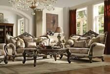 Traditional Living Room Couch Set - Brown Oak Trim Tan Fabric Sofa Loveseat IRA8