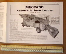1974 Vintage Meccano Number 10 Outfit Instruction Leaflet #11 Auto Snow Loader