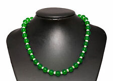 Green Agate Stone & Freshwater Pearl Necklace Length-45cm Hook Extension Chain