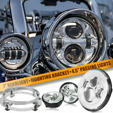 """7"""" Projector Daymaker Headlight & Passing Lights Fit Harley Softail Road King"""