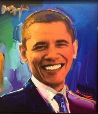 Peter Max Obama mixed media and acrylic portrait