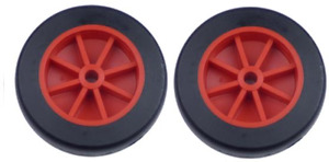 """2 x 73mm (3"""") Red Plastic Wheels With Black Tyre TW73"""