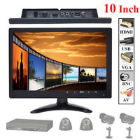 "10"" IPS LCD PC CCTV Monitor Display 1024*768 Screen BNC/AV/HDMI/VGA/USB Speaker"