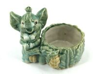 Vintage Majolica Glazed Ceramic Elephant Planter Nut Dish Green Trunk Up Lucky